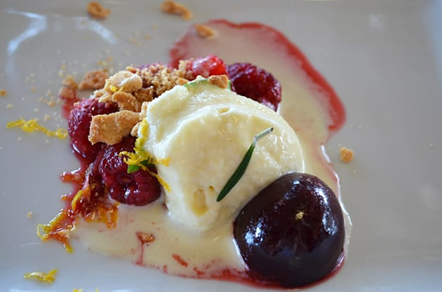 Local Plums Raspberries with local goat cheess honey ice cream