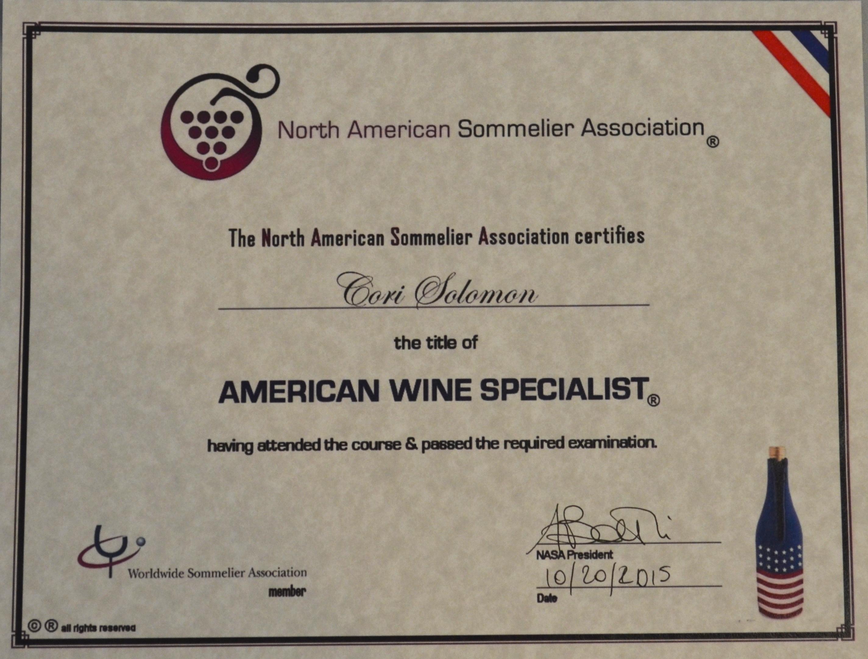 certificate aws cori sommelier certification wine medallion palette written