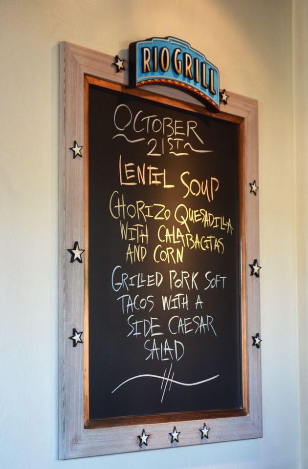 Rio Grill Menu Board