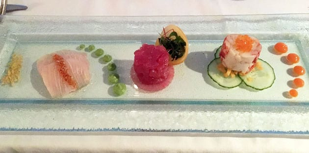 Marine Room Trilogy of LObster, Ahi Tuna and Kona Kampachi