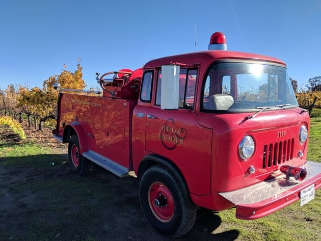 Vineyards and Winery Vintage Fire Truck