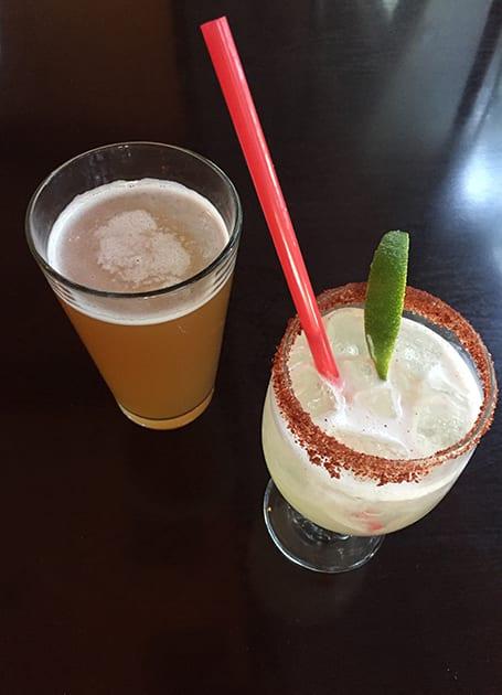 Casa Oaxaca Beer and a wine margarita