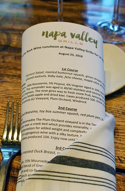 LA Wine Writers Luncheon at Napa Valley Grille