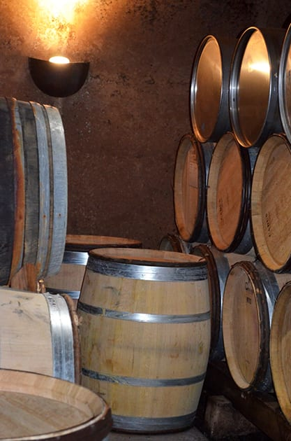 Barrels in the Cave at Alloro Vineyard