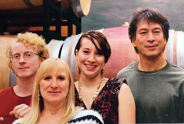 Prie Winery Owners/ Winemakers, John and Lisa Gash with Forest and Paige. Photo Courtesy of Prie Winery.