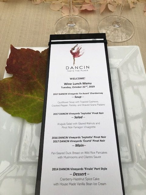 Dancin Vineyards Luncheon Menu